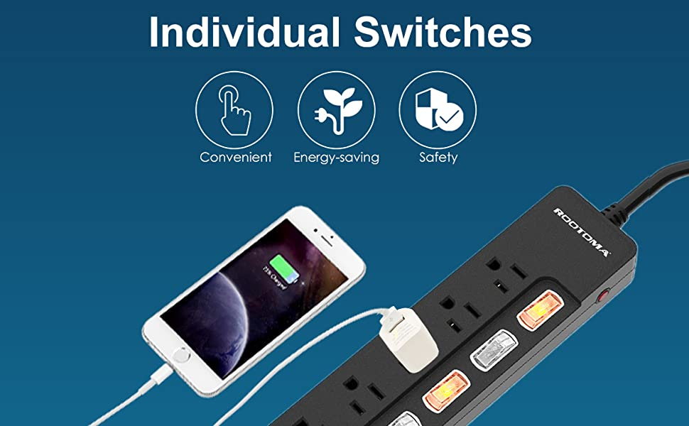 Power Strip Surge Protector 6 Outlet with Individual Switches ETL Certified 6ft 14AWG Extension Cord