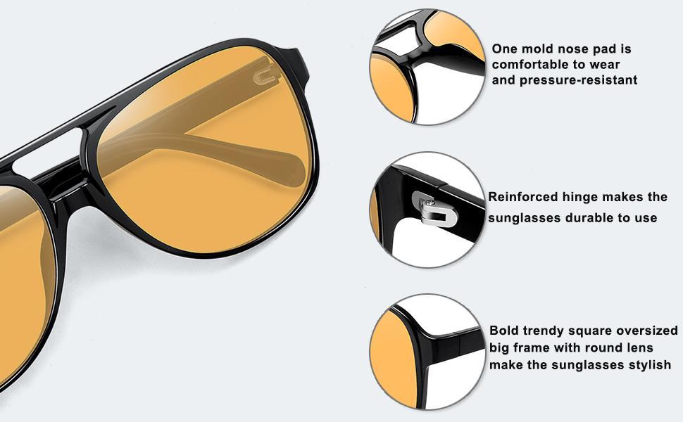 70'S yellow lens aviator sunglasses