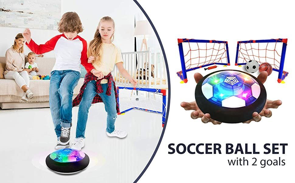 Soccer Ball Set with 2 Goals - Rechargeable Air Soccer