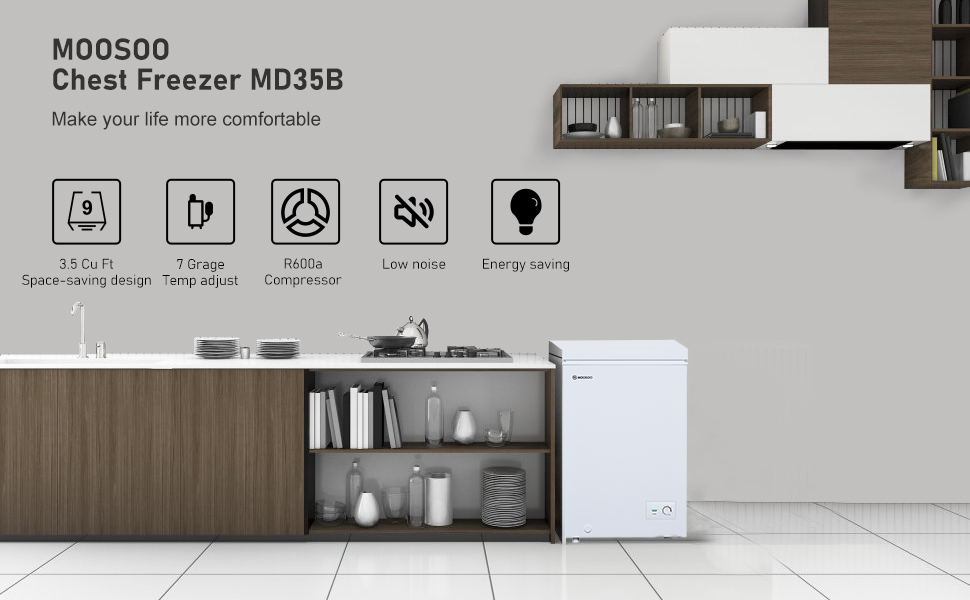 3.5 Cubic Feet with Removable Storage Basket MD35B MOOSOO Chest Freezer