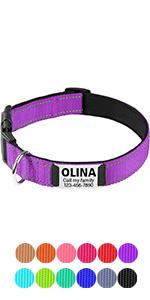 Reflective Padded Personalized Dog Collars