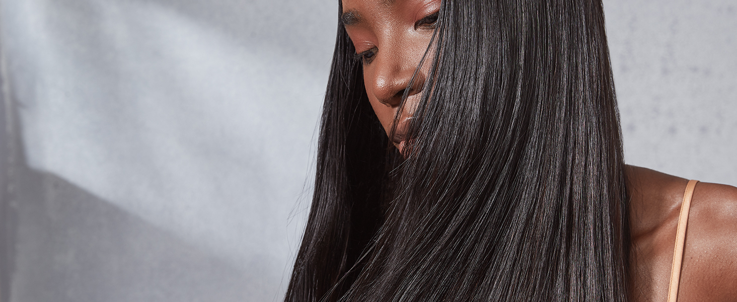 Model image with long hair.