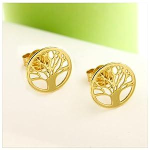 14k gold tree of life earrigns