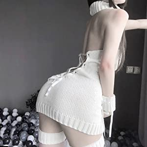 Details about  /Sexy Lingerie Women Backless Dress Pullover Cosplay Knitted Sweater Sleepwear