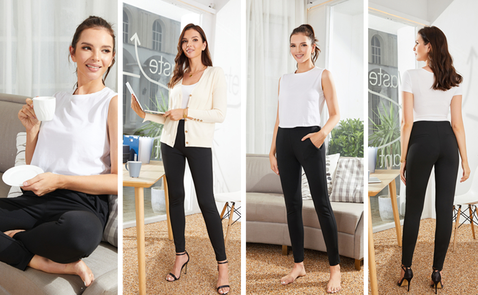 different wearing styles of women's yoga dress pants
