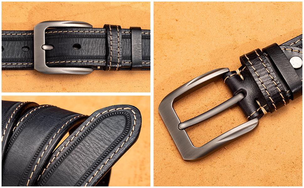 Men's Leather Belt for Work Jeans Casual Dress Black Belt for Men