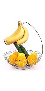 fruit basket with hanger for kitchen banana tiered countertop door double large metal modern multi