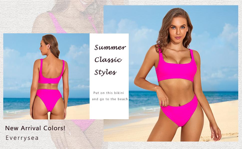 Womens Crop Top Bikini High Waisted Swimsuit Two Piece Sports High Cut Bathing Suit