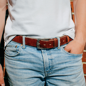 leather belts with jeans and white T-shirt