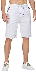Mens Linen Casual Short Drawstring Summer Beach Shorts