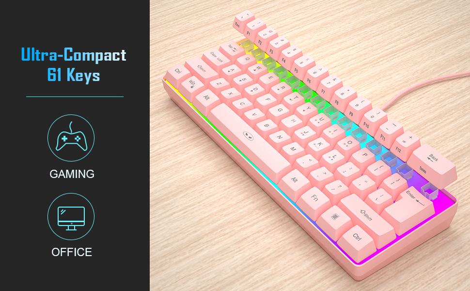 mini rgb pink gaming keyboard