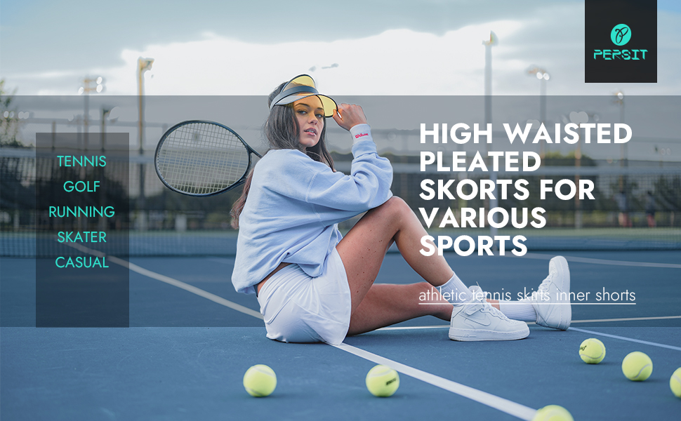 PERSIT Athletic Tennis Skirts Inner Shorts High waisted pleated skorts various sports Golf skater