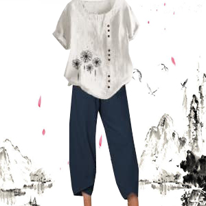 casual Bohemian Retro Cropped Haren Pants Linen Capris Pants for Women