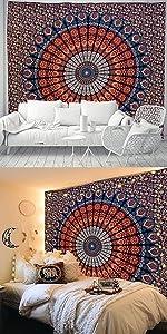 Mandala Orange Tapestry