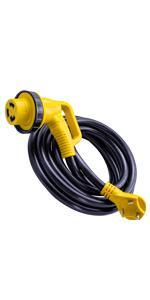 "90 Degree 15"" Extension Cord 30 AMP Male Standard 30 AMP Female 90 Degree Twist Locking Adapter"