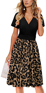 STYLEWORD Women Summer Short Sleeve V-Neck Floral Wrap Waist Casual Party Dress with Pockets