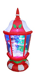 6 Foot Tall Christmas Inflatable Lantern with Snowman and Tree Color LED Lights
