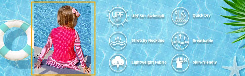 Rash Guard Girls Two Piece Bathing Suits Long Sleeve Appropriate Swimwear for 3-12 Years