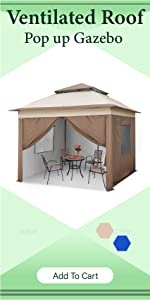 Pop up gazebo with sidewalls and vented roof