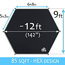 Hex tarp dimensions