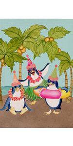 Hzppyz Summer Penguin Hawaii Coconut Aloha Beach Garden Flag