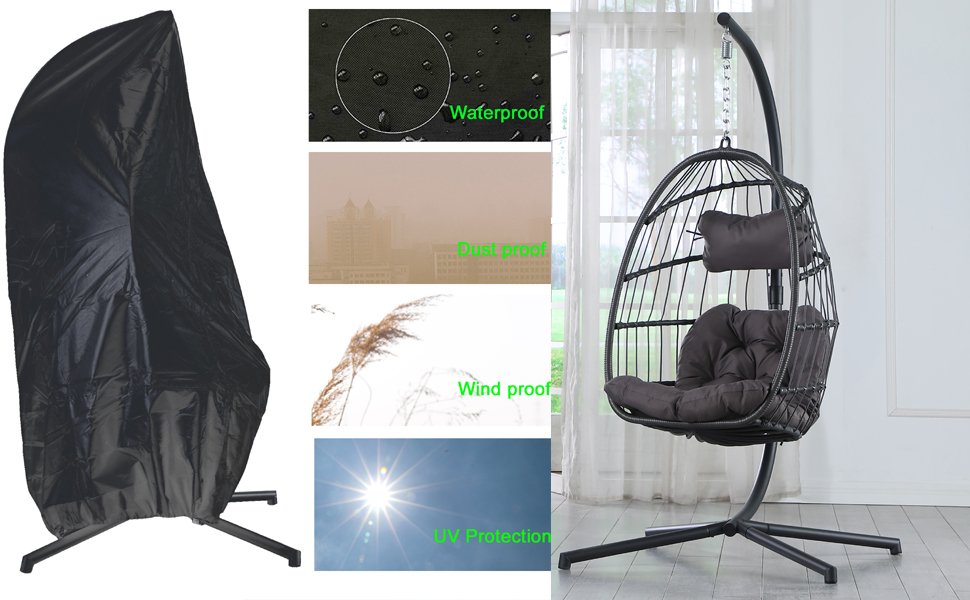 Hanging egg chair with cover