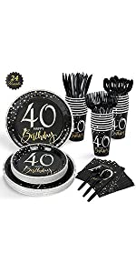 24 Guests 40th Birthday Party Supplies