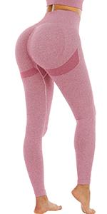 Pink butt lifting leggings women