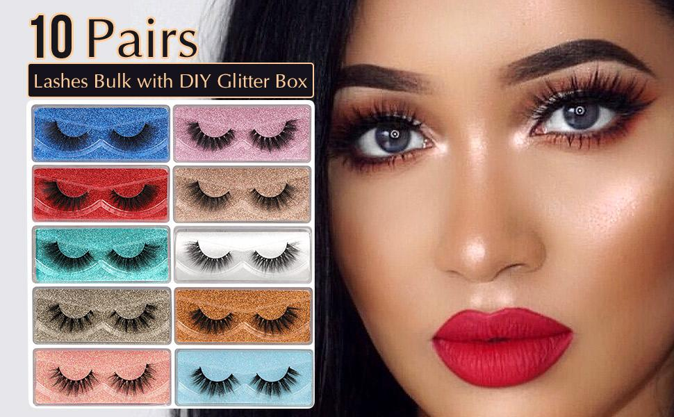 10 Pairs Cat Eye Lashes Pack with Glitter Box
