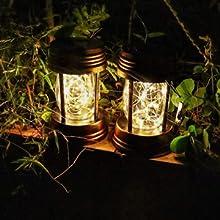 Solar lanterns on the table