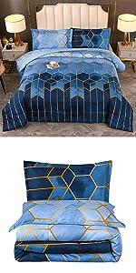 Blue Geometric Comforter Set