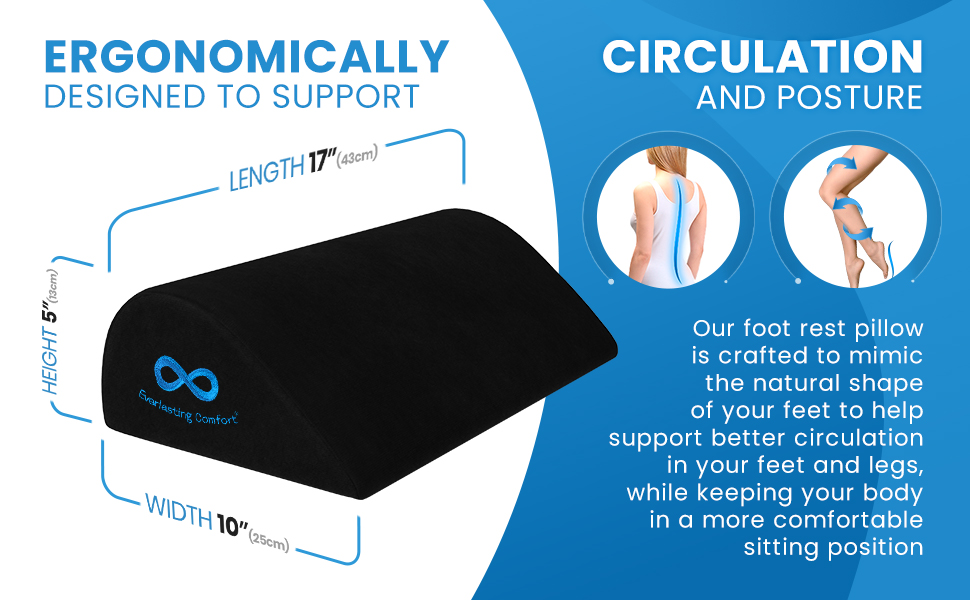 Foot rest under desk is designed to support circulation and posture
