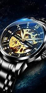 Hollow skeleton black men's mechanical watch