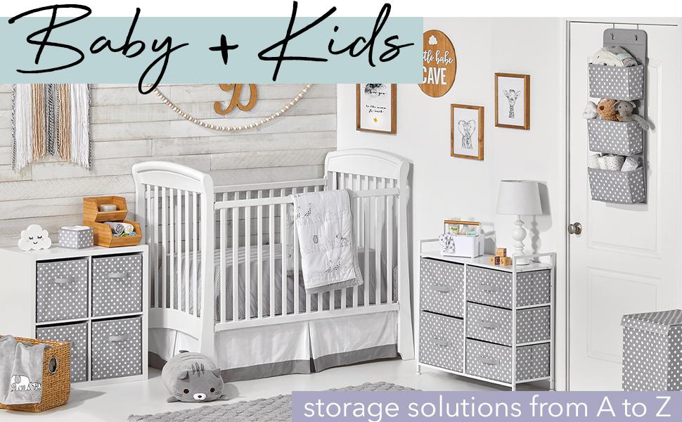 Baby + Kids Header, nursery setting, white dressers, gray and white polka dot fabric drawers, crib
