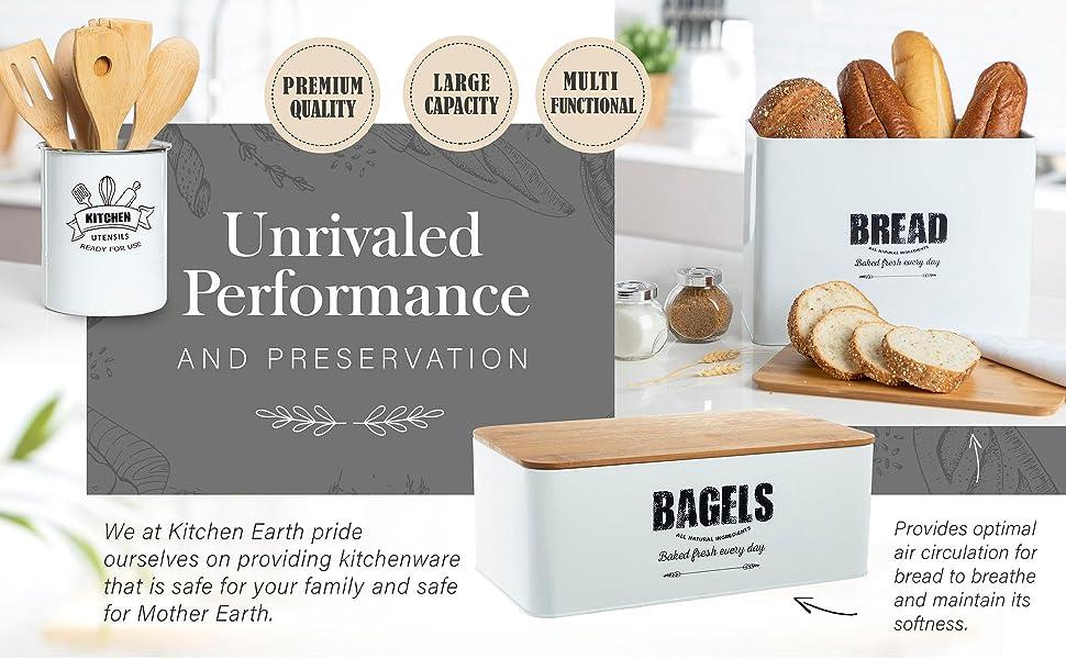 vintage tin bread box, bread box for kitchen counter, utensil holders, bagels holder
