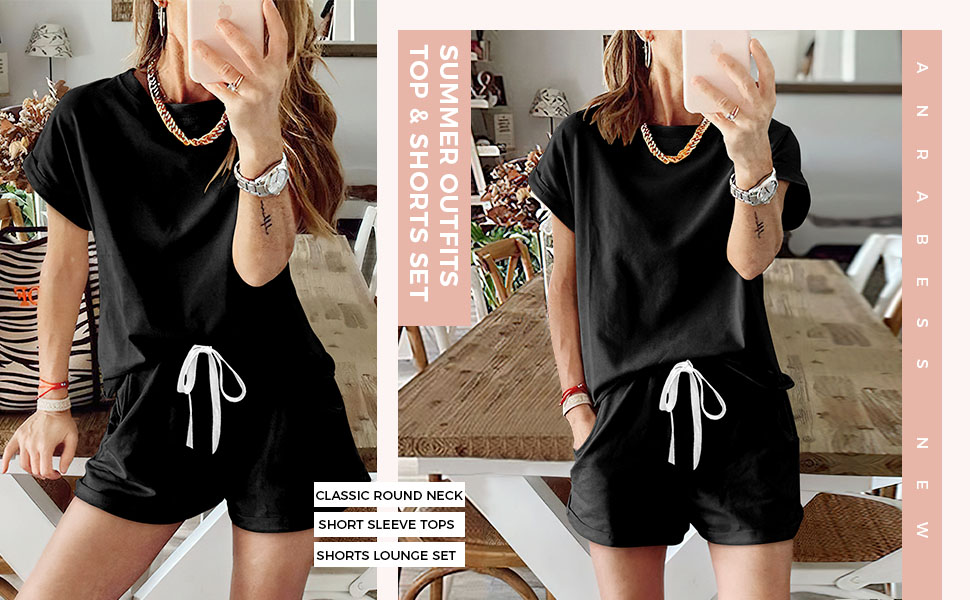 ANRABESS Summer 2 Piece Loungewear Short Sleeve Sweatsuit Sets Crewneck Loose Fit Outfits for Women