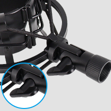 Adjustable shock mount with metal tightening button