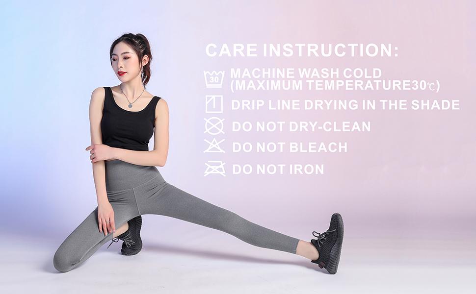 A female model, washing instructions
