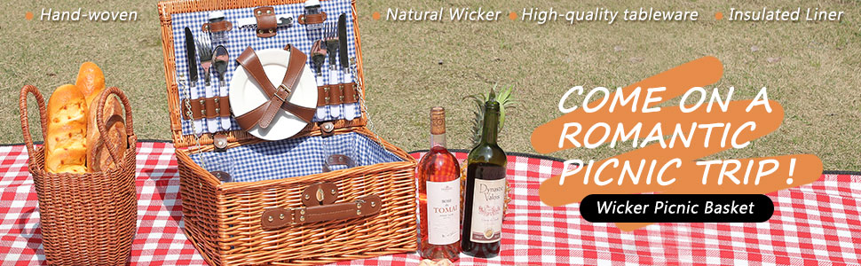 Natural Wicker  High-quality tableware Insulate  Wicker Picnic basket