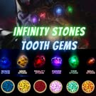 infinity stone tooth gems blue yellow red pink green bezel set diamond yellow gold plated