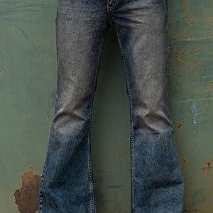 High quality denim flared pants