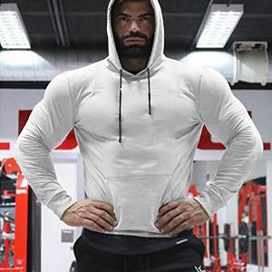 Babioboa Men's Active Gym Muscle Bodybuilding Long Sleeve Workout Running Hooded Sweatshirts