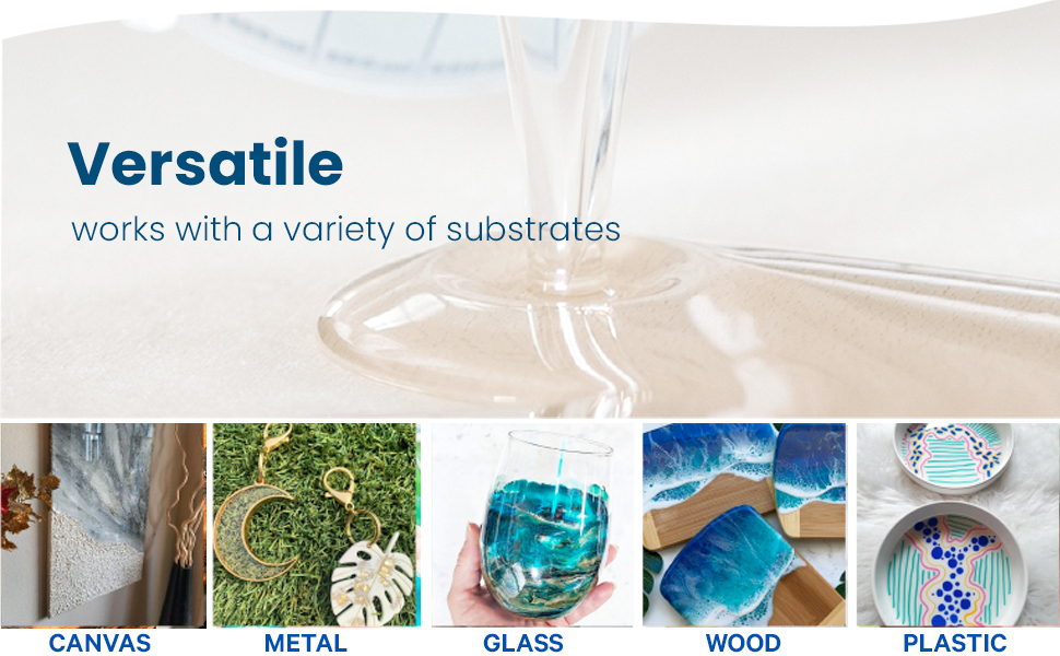 Our epoxy resin can be used for different art substrates like canvas, metal, glass, wood, amp; plastic