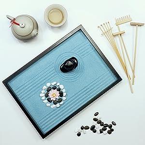 Oasis of Calm Zen Garden - Tools Rakes Sand Lotus Pebbles Rocks