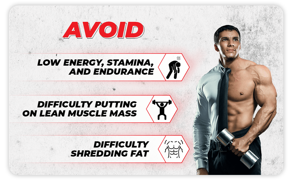 Avoid low energy, difficulty putting on lean muscle, and poor blood flow