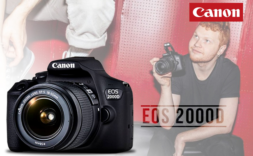 Man holding a Canon EOS 2000D camera with raised flash and close up view of EOS 2000D camera