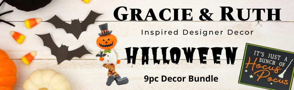 Gracie and Ruth Logo with product name Halloween 9pc Decor bundle and some images of included items