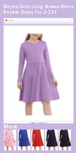 Boyoo Girls Long Sleeve Dress Pocket Dress for 2-13 Y