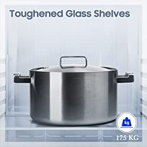 It's safety first with the toughened glass shelves