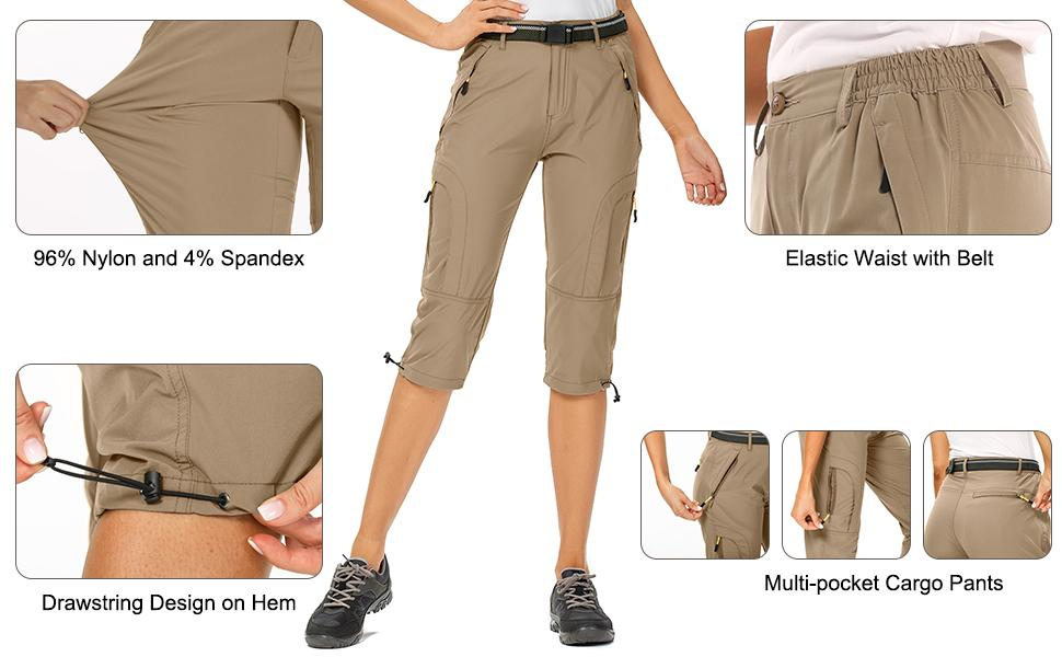 Women's Quick Dry Stretch Hiking Cargo Shorts Lightweight with Zippered Pockets UPF 50+